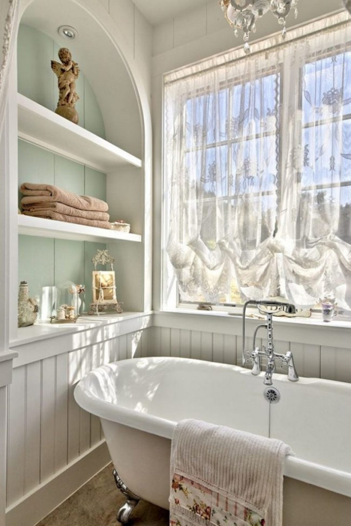 Декор ванной комнаты прованс деревянная полка