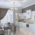 Дизайн кухни в частном доме классика в линейной планировке