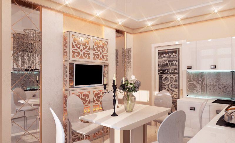 Дизайн кухни в частном доме модерн притворяется арт-деко