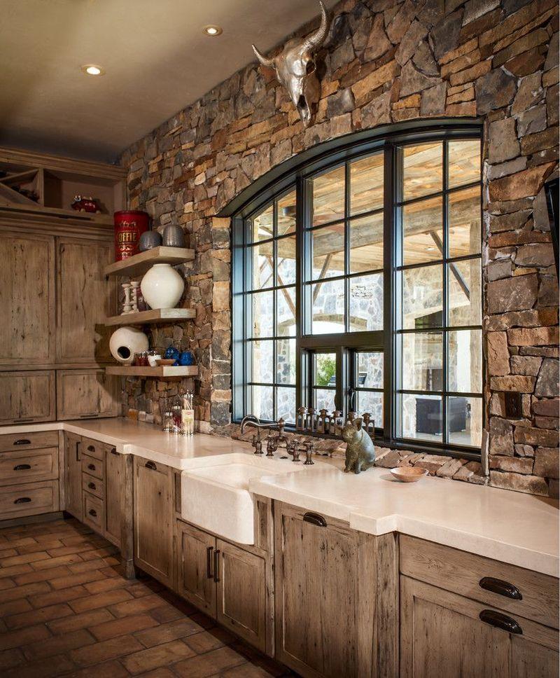 Дизайн кухни в частном доме стиль рустик камень