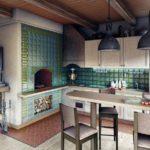 Дизайн кухни в частном доме в деревенском стиле русской печкой