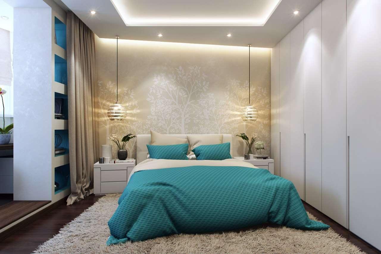 фото спальни с балконом и гардеробной