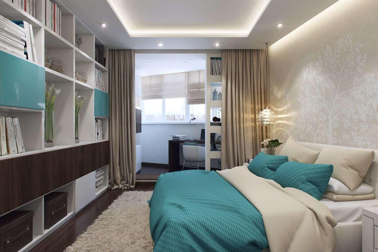 спальня с балконом и гардеробной
