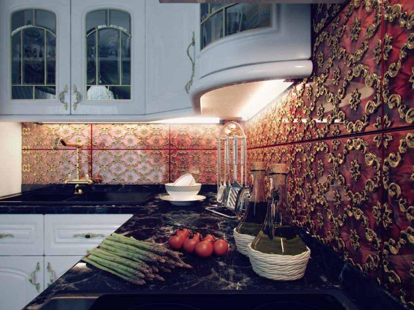 фартук из плитки на кухне фото