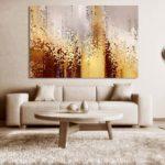 Картины в интерьере гостиной без рамки