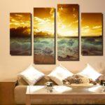 Картины в интерьере гостиной квадриптих с морским пейзажем
