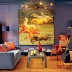 Картины в интерьере гостиной много лошадей