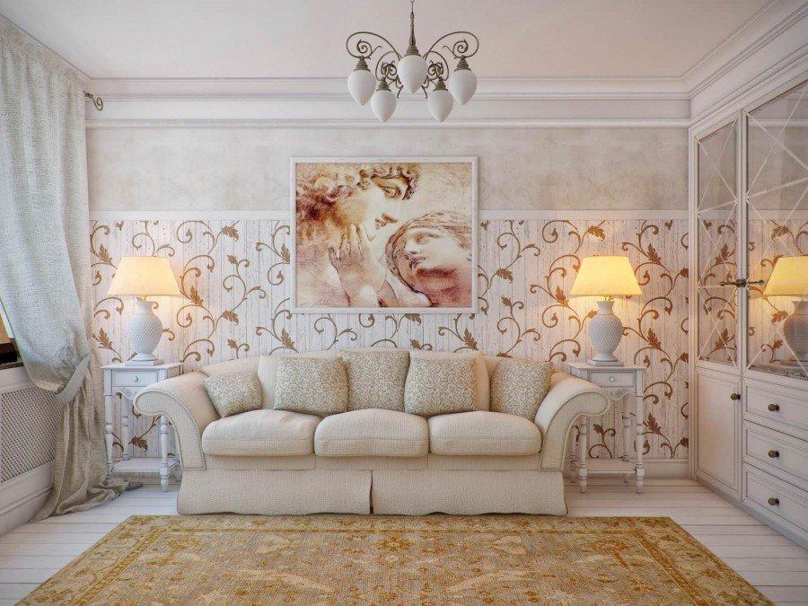 Картины в интерьере гостиной над диваном