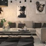 Картины в интерьере гостиной стиля лофт в графическом стиле