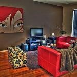 Картины в интерьере гостиной в стиле комикса