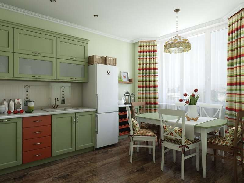 шторы на кухне зеленого цвета