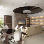 кухня гостиная 18 м2 интерьер студии