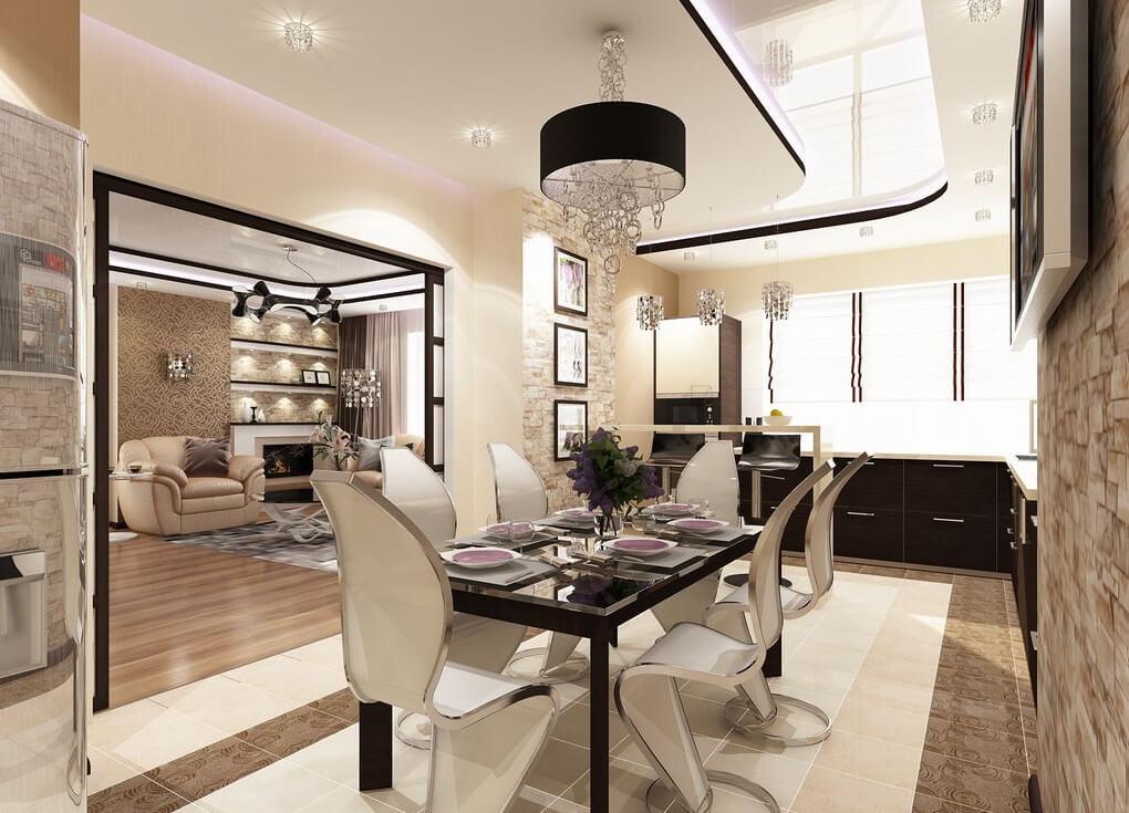 элитный дизайн кухни гостиной 18 м2
