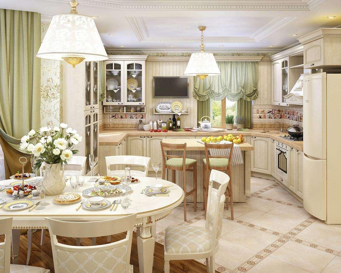 кухня гостиная 18 м2 прованс
