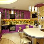 Фиолетовая кухня с желтым