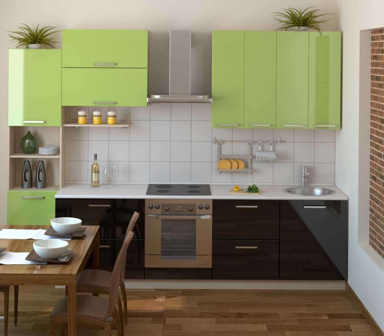 небольшая зеленая кухня