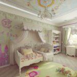 Оформление детской комнаты девочки-школьницы с классическим дизайном