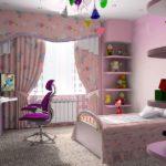 Оформление детской комнаты для девочки-школьницы с розовым текстилем
