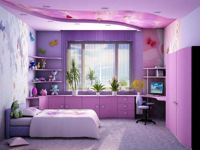 Оформление детской комнаты для девочки-школьницы