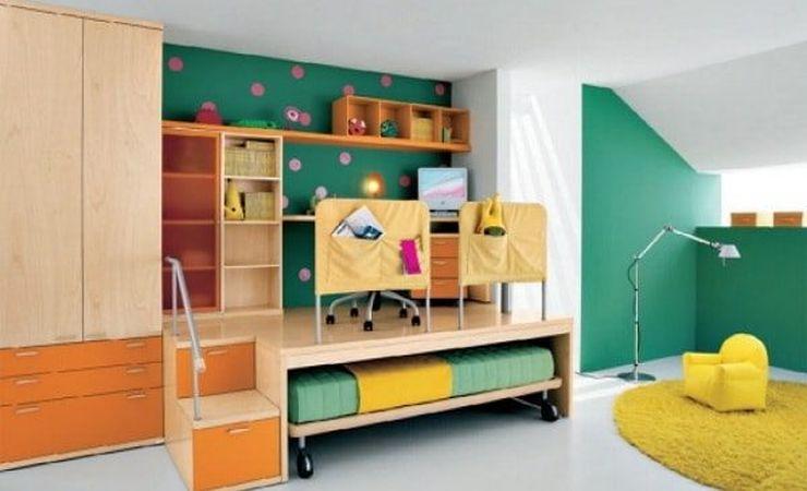 Оформление детской комнаты кровать под подиумом со столом