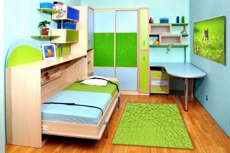 Оформление детской комнаты кровать-тумбочка