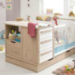 Оформление детской комнаты новорожденного кровать с встроенной тумбочкой и пеленальной зоной