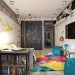 Оформление детской комнаты ребенка шкаф-купе с доской для рисования