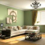 Оформление гостиной комнаты стены фисташкового цвета