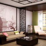 Оформление гостиной комнаты в японском стиле с фотообоями