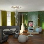 Оформление гостиной в экостиле с напольными светильниками