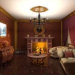 Оформление гостиной в коричневых тонах и позолотой