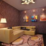 Оформление гостиной в стиле лофт с декоративной кирпичной кладкой