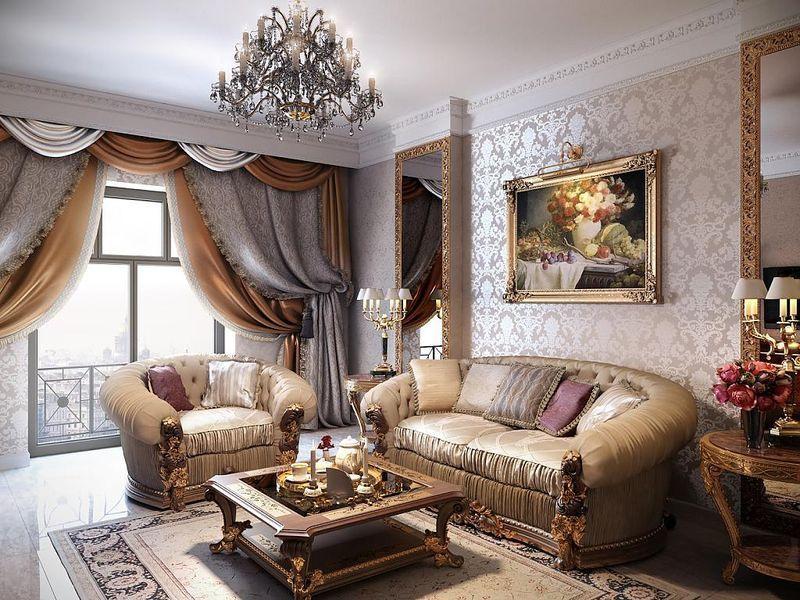 Оформление окна гостиной комнаты в классическом стиле