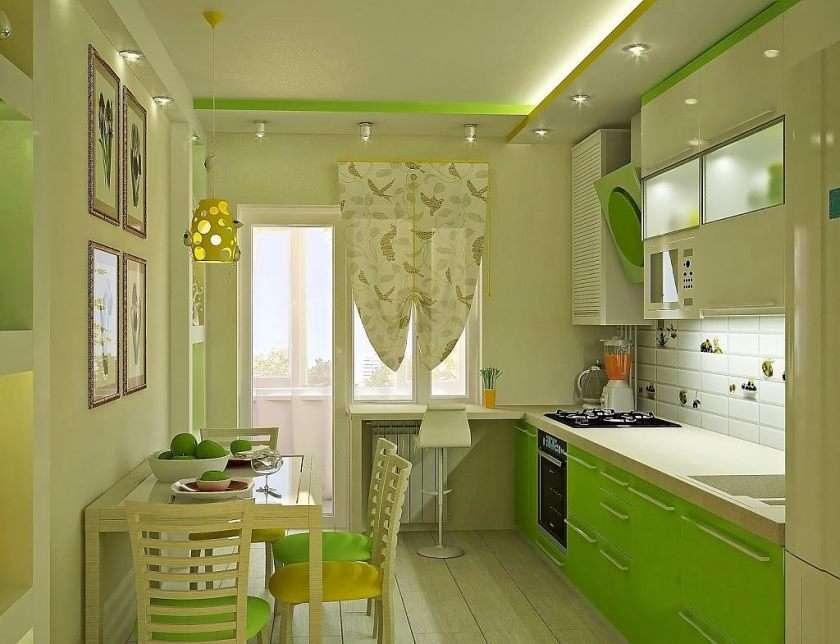 оформление зеленой кухни