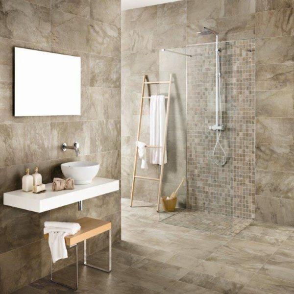 Бежевый и серый цвет для ванной комнаты