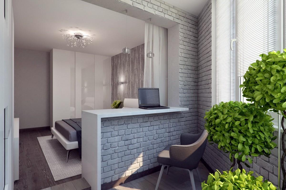 современный дизайн спальни с балконом