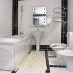 Современный дизайн ванной комнаты белая и черная кафельные плитки