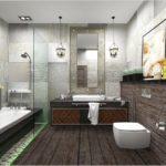 Современный дизайн ванной комнаты имитация обшивки деревом
