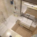 Современный дизайн ванной комнаты комбинация разной плитки