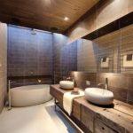 Современный дизайн ванной комнаты мебель рустик в интерьере хай-тек