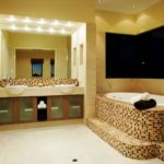 Современный дизайн ванной комнаты мозаичная плитка