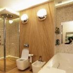 Современный дизайн ванной комнаты с мозаичным кафелем