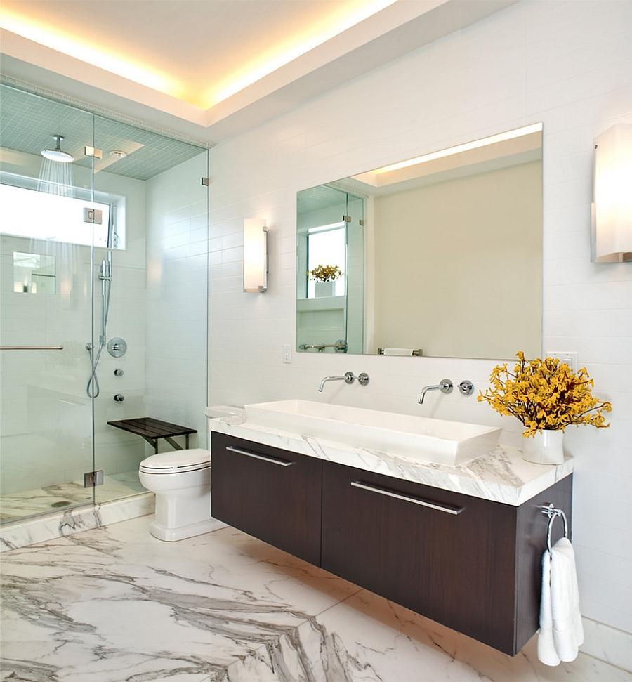 современный дизайн ванной комнаты светильники на потолке