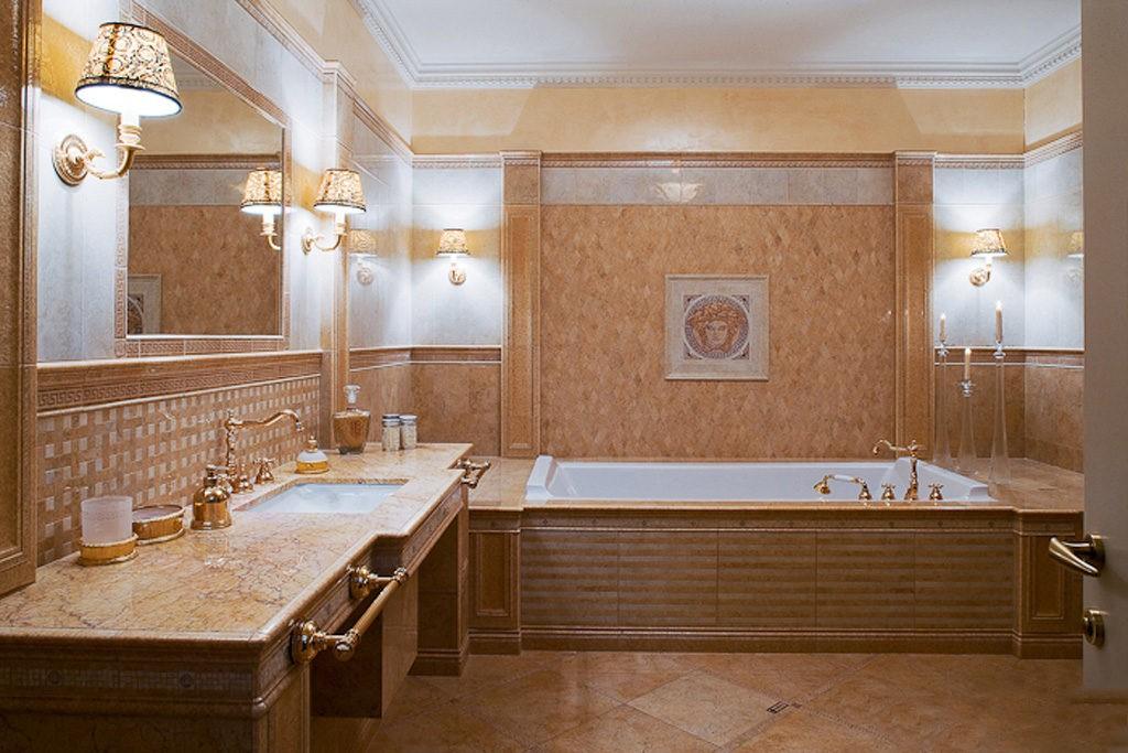 современный дизайн ванной комнаты светильники на стенах