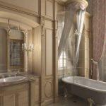 Современный дизайн ванной комнаты в классическом стиле с балдахином