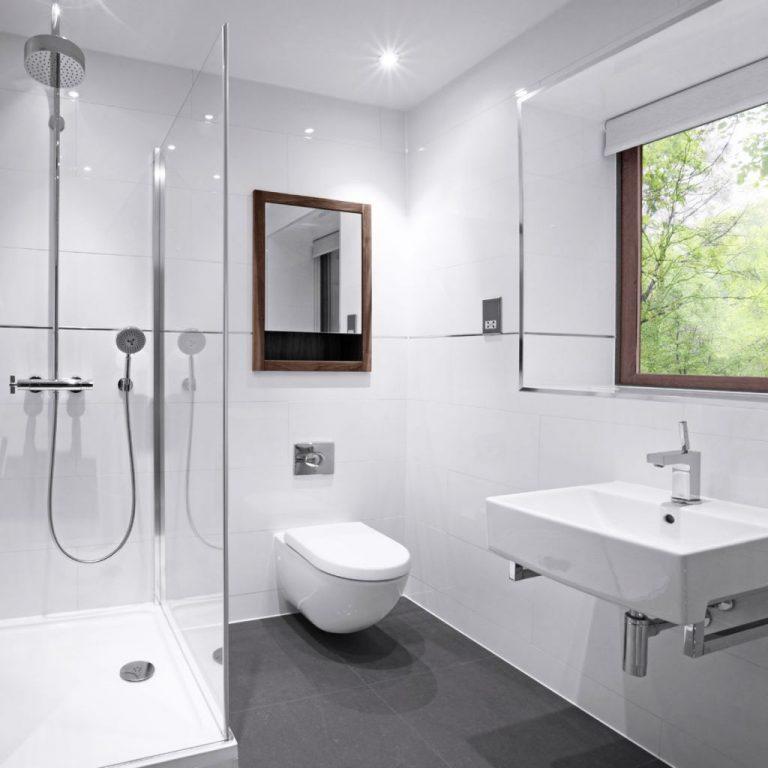 Современный дизайн ванной комнаты в общем стиле дома