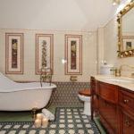 Современный дизайн ванной комнаты в стиле модерн с геометрическим орнаментом на полу