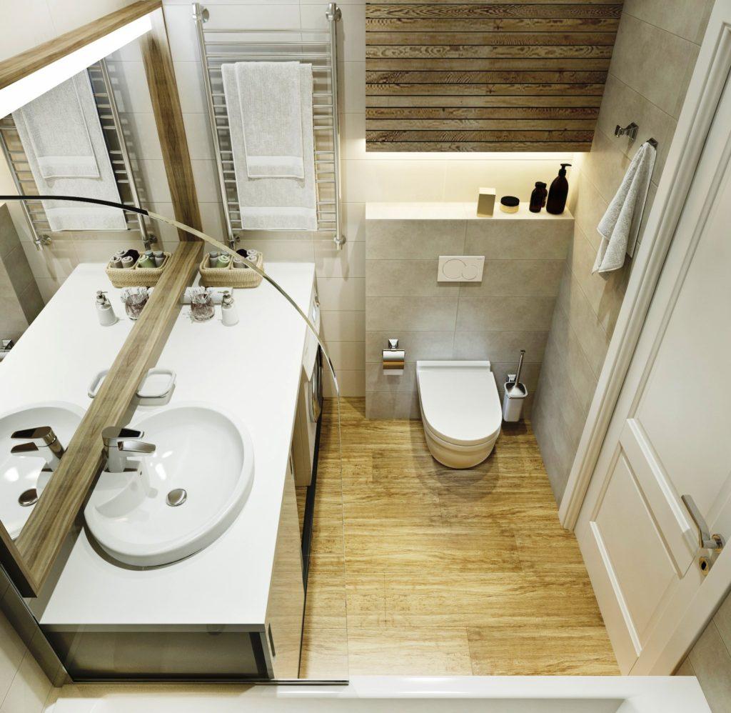 Современный дизайн ванной плитка под дерево