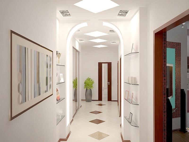 дизайн узкого коридора с нишами
