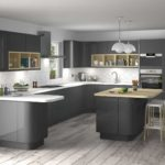 элитный дизайн кухни серый гарнитур